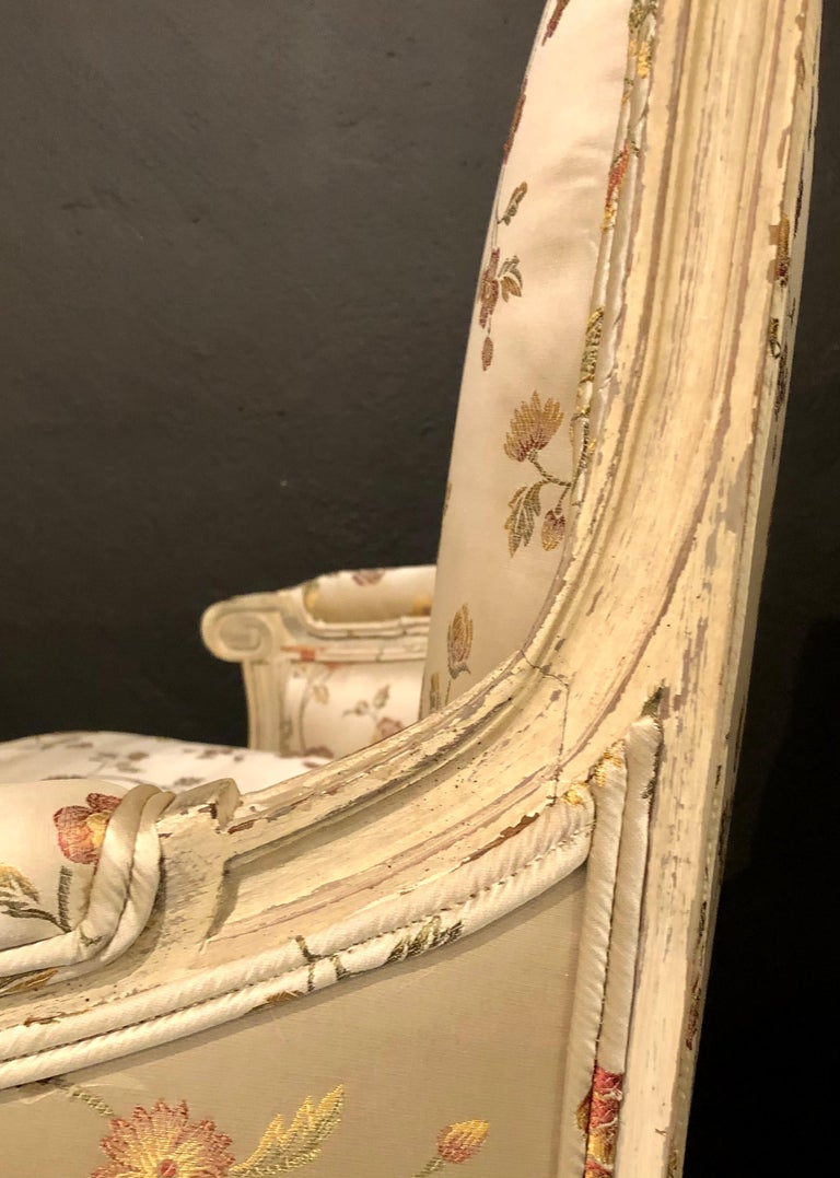 Pair Louis XVI Style Maison Jansen Bergeres in A Distressed Frame For Sale 10