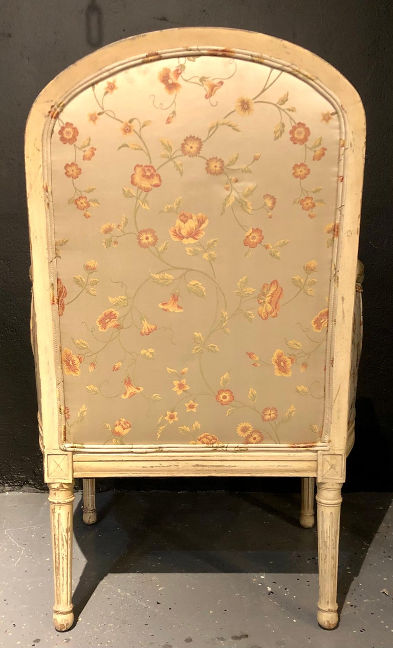 Pair Louis XVI Style Maison Jansen Bergeres in A Distressed Frame For Sale 11