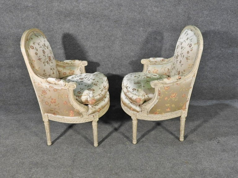 French Pair Louis XVI Style Maison Jansen Bergeres in A Distressed Frame For Sale