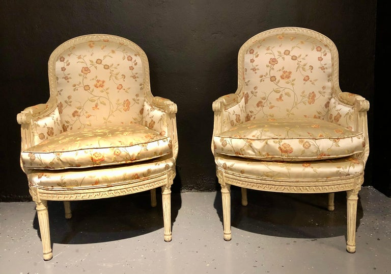 Hand-Painted Pair Louis XVI Style Maison Jansen Bergeres in A Distressed Frame For Sale