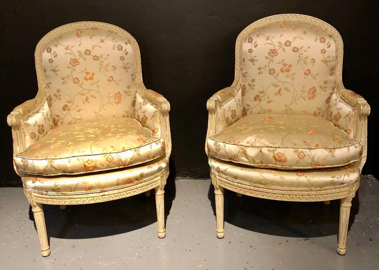 Pair Louis XVI Style Maison Jansen Bergeres in A Distressed Frame In Good Condition For Sale In Stamford, CT
