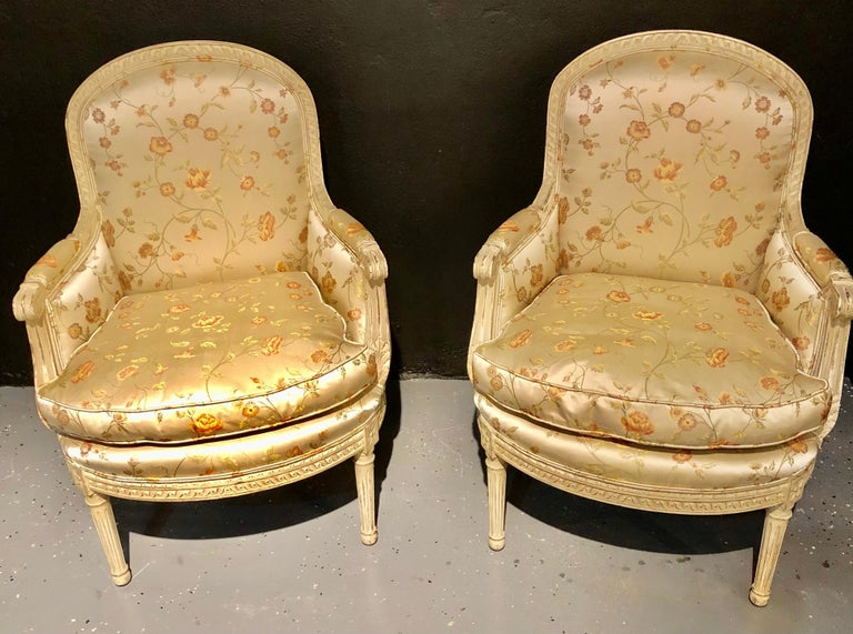 Mid-20th Century Pair Louis XVI Style Maison Jansen Bergeres in A Distressed Frame For Sale