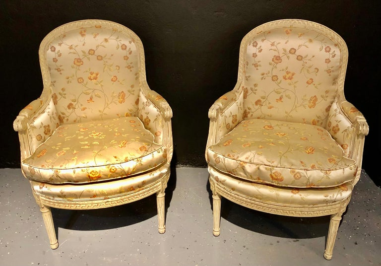 Pair Louis XVI Style Maison Jansen Bergeres in A Distressed Frame For Sale 1