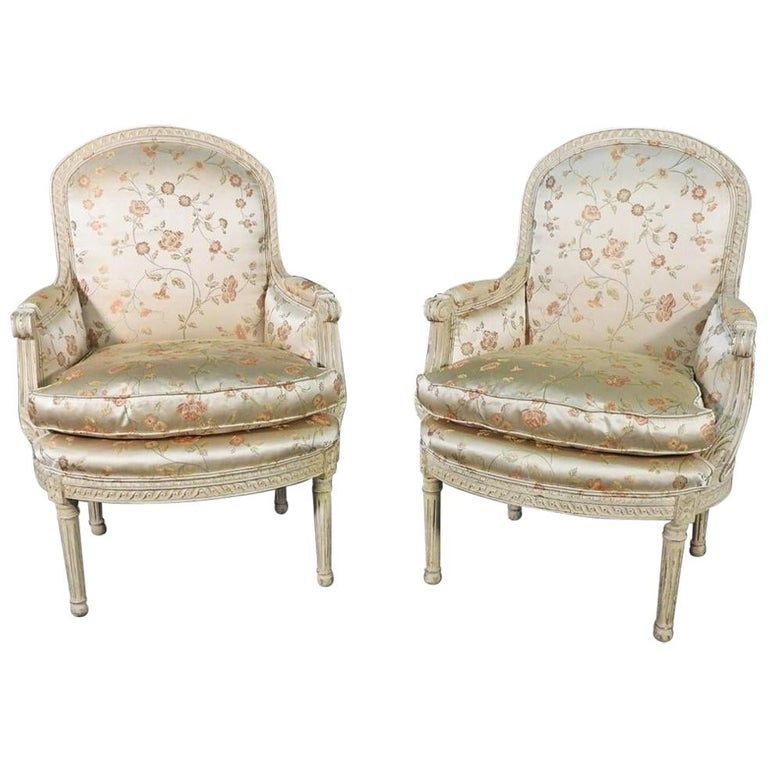 Pair Louis XVI Style Maison Jansen Bergeres in A Distressed Frame For Sale