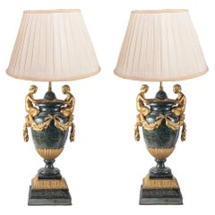 Pair Louis XVI Style Neo-Classical Marble Lamps