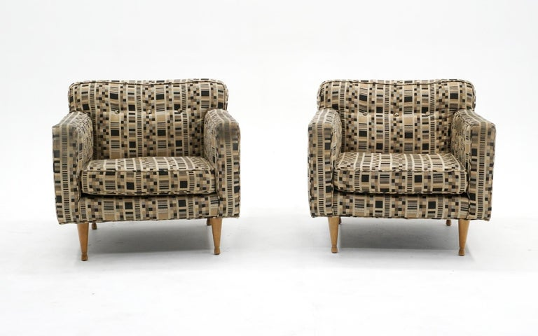 Pair of Dunbar lounge chair is excellent structural condition and in need of upholstery updating. We have priced these much lower than we would if we had then redone. Why not discount he price and you can use the savings to upholster them as you