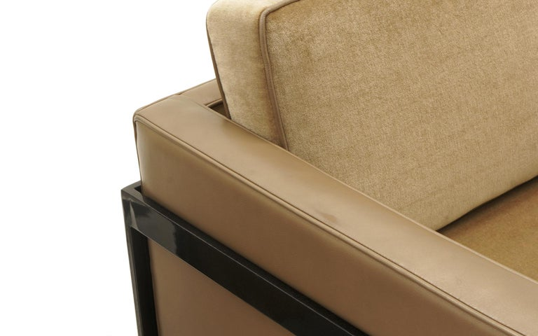 Mid-20th Century Pair Lounge Chairs by Milo Baughman, Camel / Tan Mohair and Leather, Beautiful For Sale
