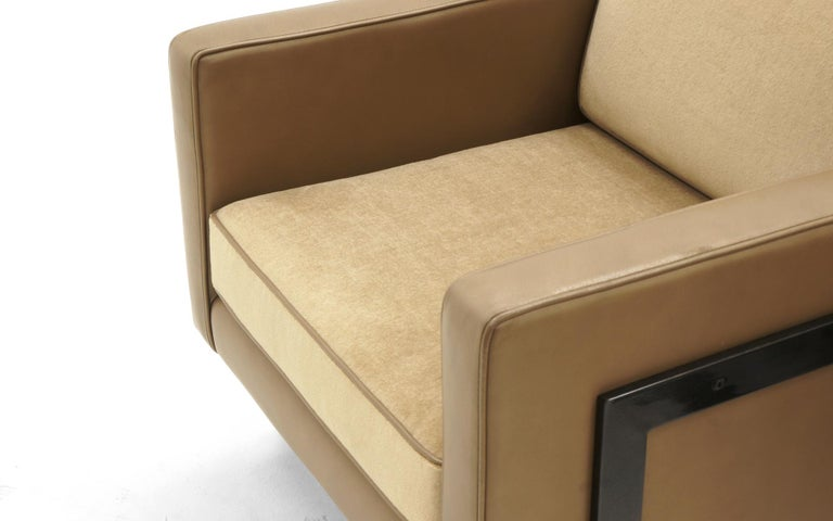 Pair Lounge Chairs by Milo Baughman, Camel / Tan Mohair and Leather, Beautiful For Sale 1
