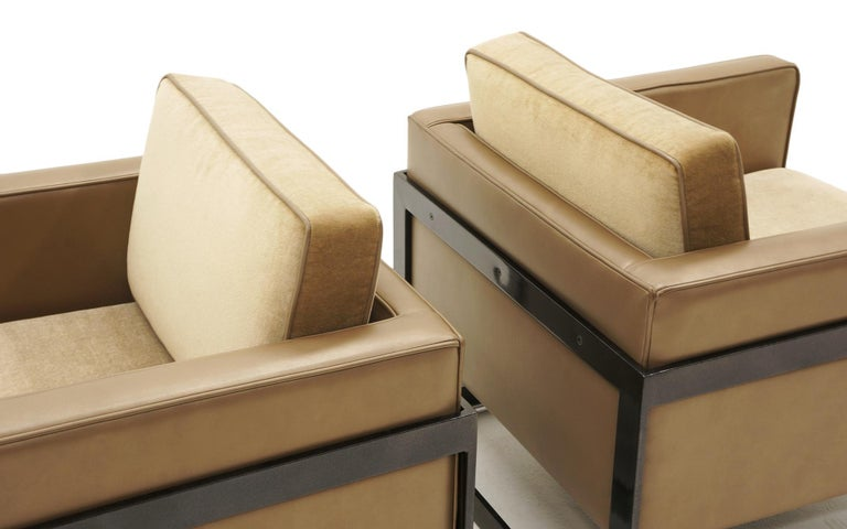Pair Lounge Chairs by Milo Baughman, Camel / Tan Mohair and Leather, Beautiful For Sale 2