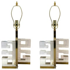 Pair of Lucite Greek Key Lamps, Italy, 1950s