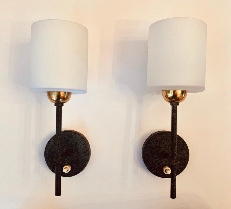 Pair of Lunel French 1960s Wall Lights For Sale 5
