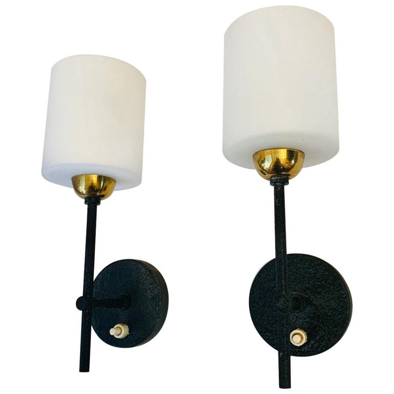 Pair of Lunel French 1960s Wall Lights For Sale