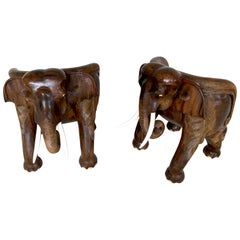 Pair of Magnificent of Late 19th Century Hardwood Carved Elephant Chairs