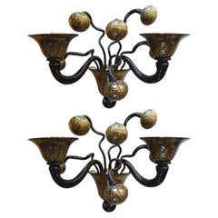 Pair Magnificent Wall Sconces by Gianni Signoretto, c 1980s