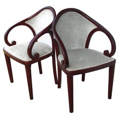 Pair of Mahogany Austrian Upholstered Side Chairs