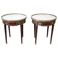 Mahogany Louis XVI Bronze Mounted Carrara Marble Top Gueridons End Tables, Pair