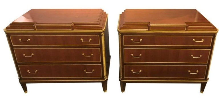 Pair Mahogany Up Russian Neoclassical Style Commodes / Nightstands In Good Condition For Sale In Stamford, CT