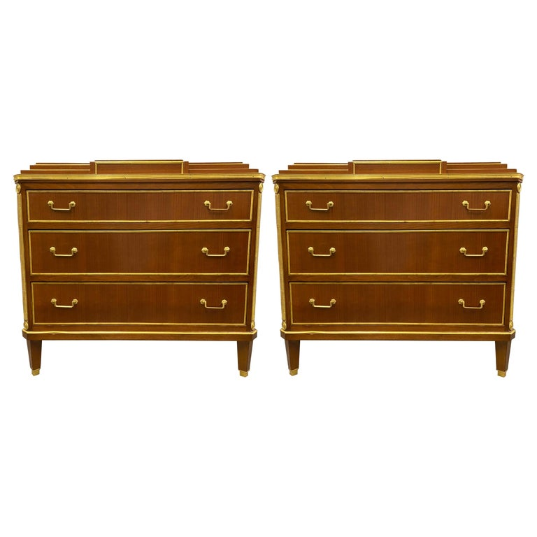 Pair Mahogany Up Russian Neoclassical Style Commodes / Nightstands For Sale