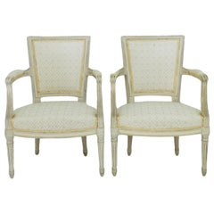 Pair of Maison Jansen Louis XVI Style Open Armchairs Original Paint