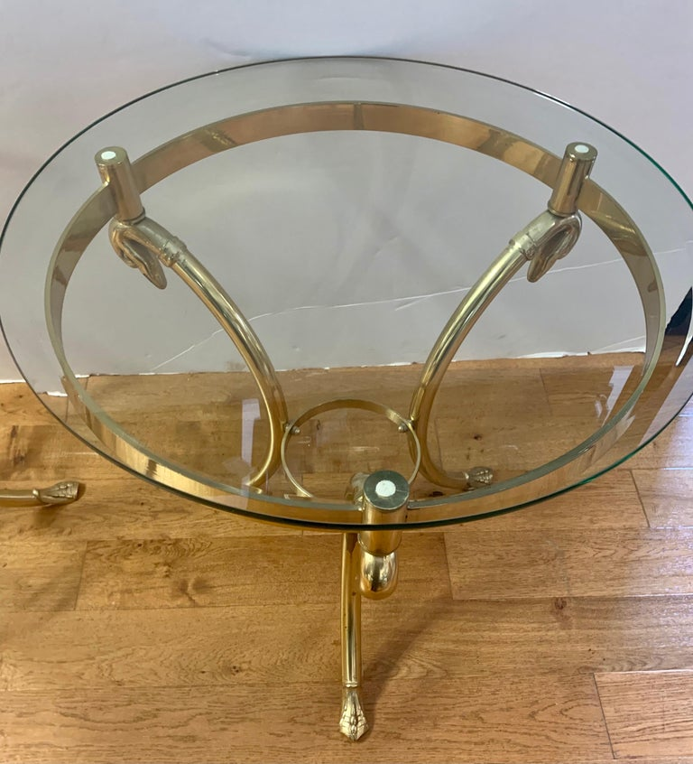 Mid-Century Modern Pair Maison Jansen Neoclassical Brass and Glass End Tables Swan Heads and Feet For Sale