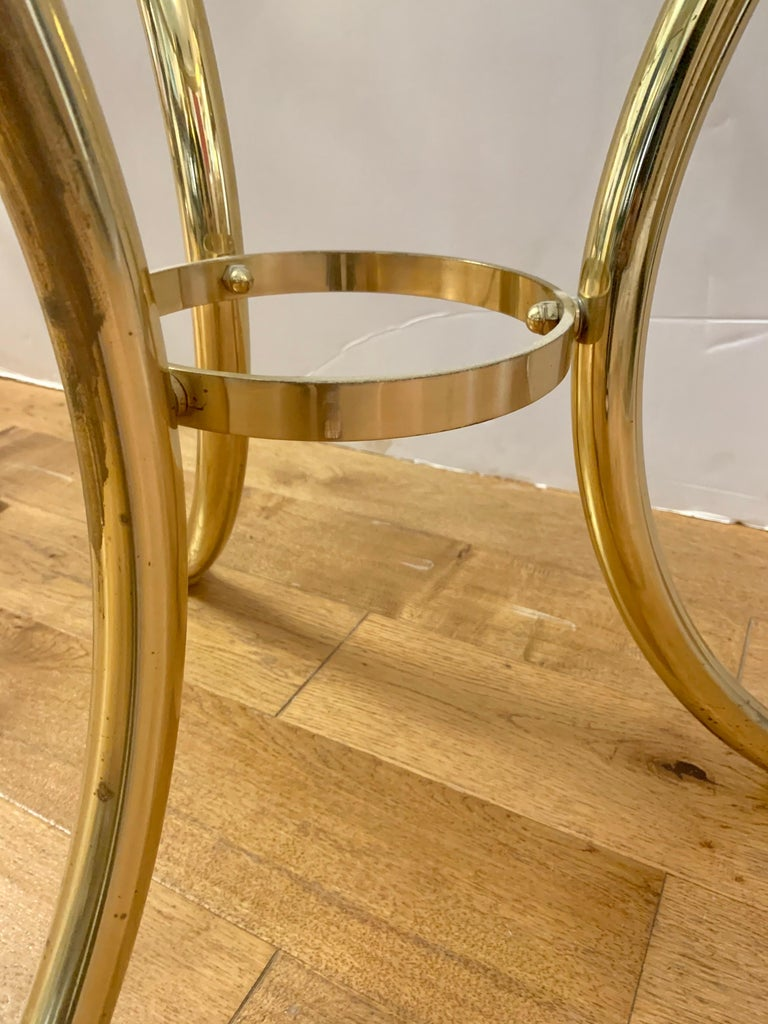 Mid-20th Century Pair Maison Jansen Neoclassical Brass and Glass End Tables Swan Heads and Feet For Sale