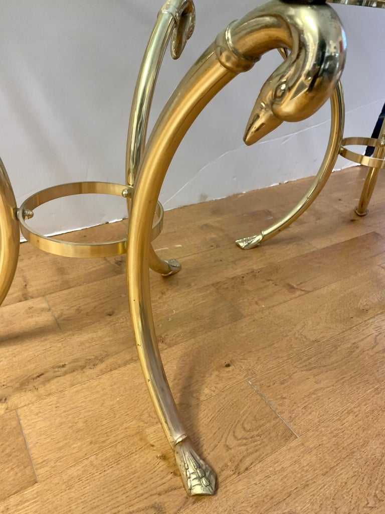 Pair Maison Jansen Neoclassical Brass and Glass End Tables Swan Heads and Feet For Sale 1