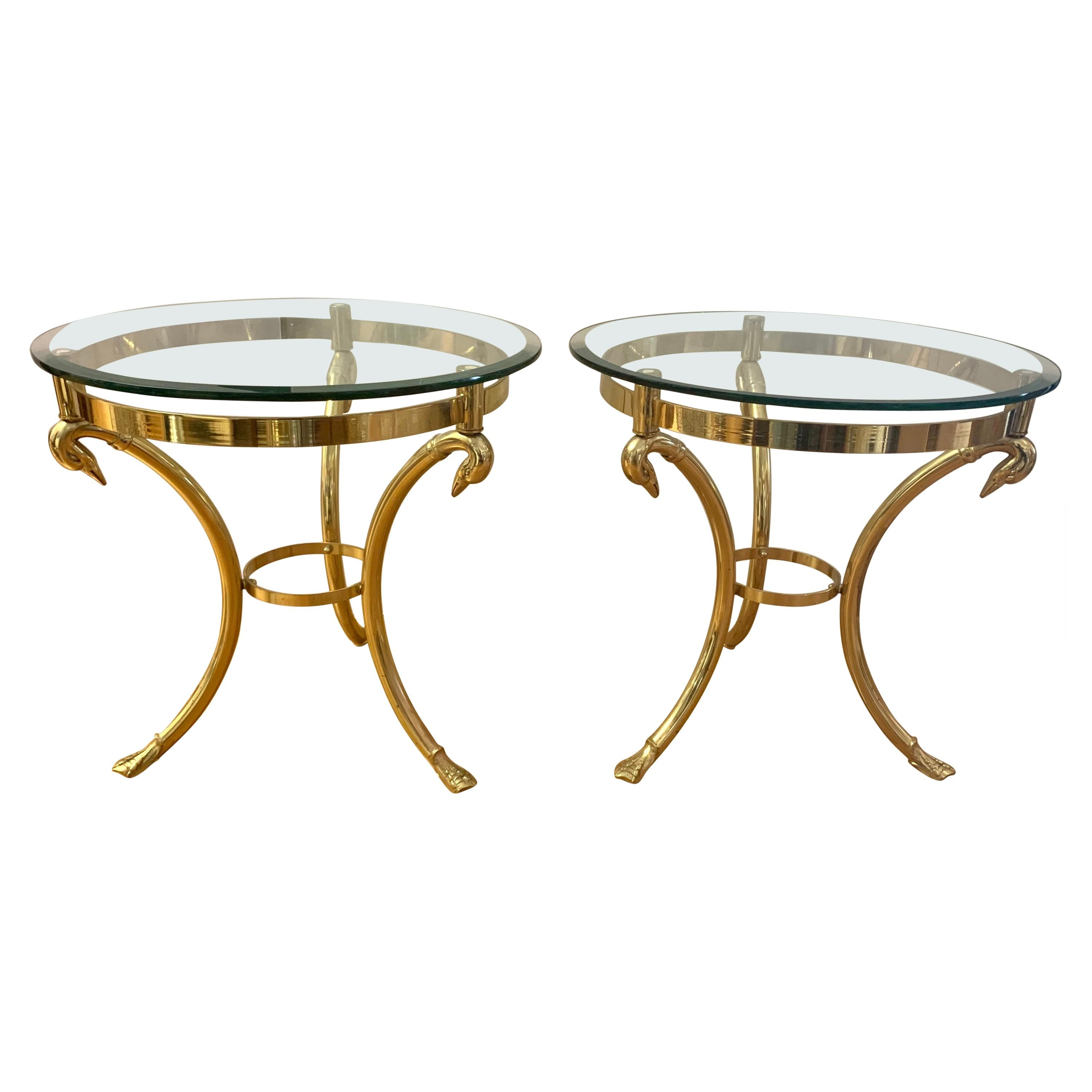 Pair Maison Jansen Neoclassical Brass and Glass End Tables Swan Heads and Feet