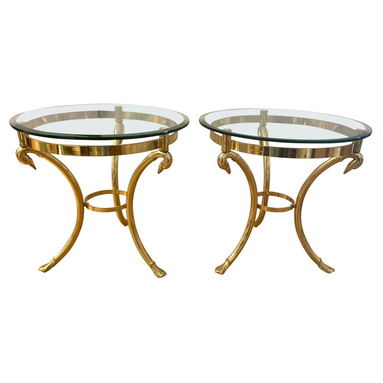 Pair Maison Jansen Neoclassical Brass and Glass End Tables Swan Heads and Feet For Sale