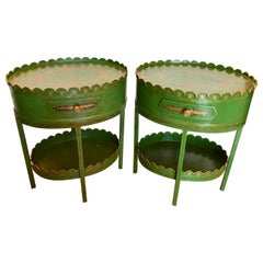 Pair of Maitland Smith Hand Painted Tole Tables