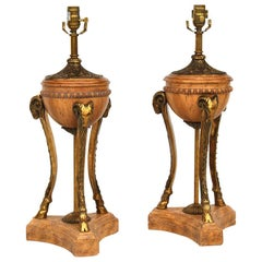 Pair of Maitland-Smith Neoclassical Ram Head Table Lamps