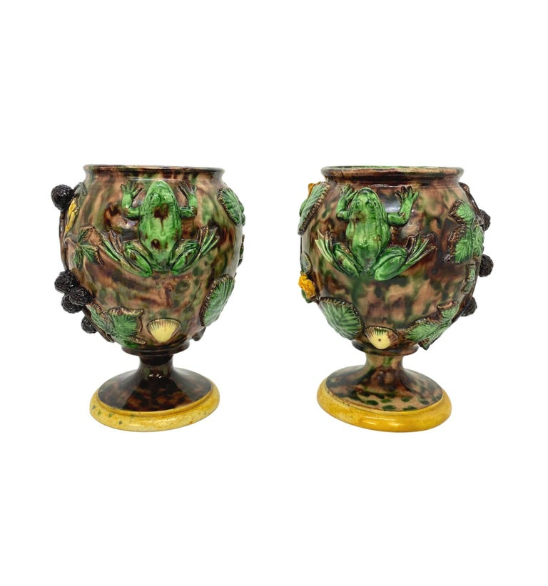 Pair of Majolica Palissy Ware vases with Frog -Form handles and blackberries by Thomas-Victor Sergent, French, circa 1885. Thomas-Victor Sergent, (French, 1830-1890). Sergent was an important member of the School of Paris; he established his studio
