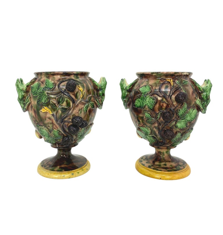 Molded Pair of Majolica Palissy Ware Vases with Frogs, Thomas Sergent French circa 1885 For Sale