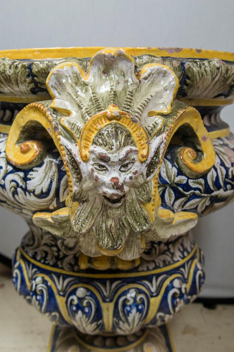 19th Century Pair of Majolica Planters For Sale