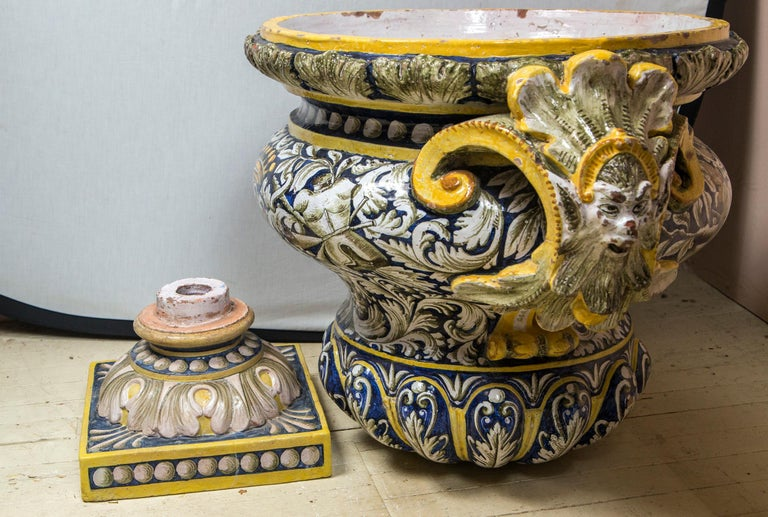 Pair of Majolica Planters For Sale 2