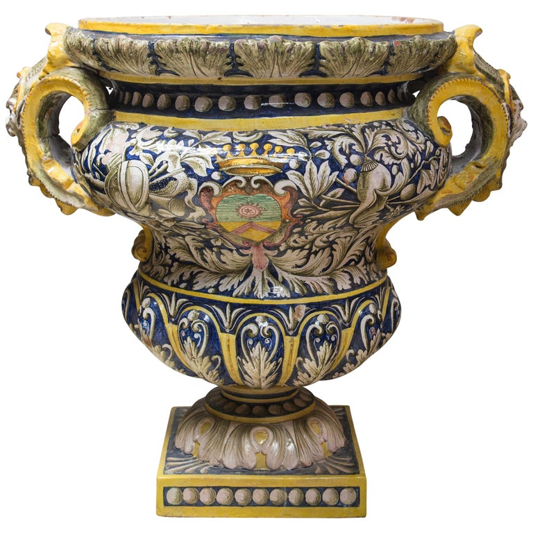 Pair of Majolica Planters For Sale