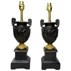 Pair of Marble Ormolu and Bronze Dore Electric Table Lamps C Delpech