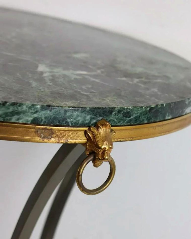 French Pair of Marble-Top Bronze and Steel Gueridon Tables in Style of Maison Janssen For Sale