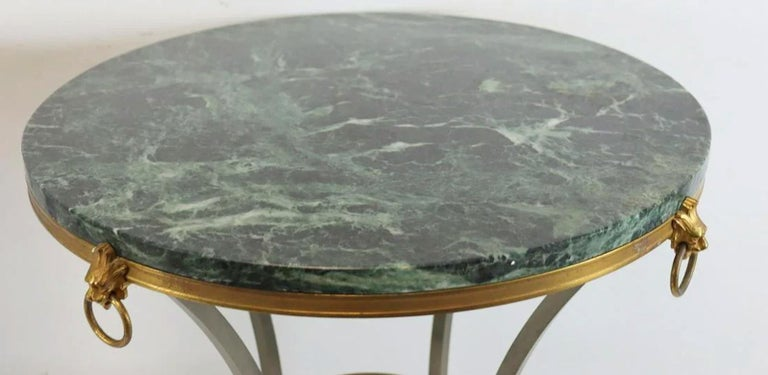 Cast Pair of Marble-Top Bronze and Steel Gueridon Tables in Style of Maison Janssen For Sale