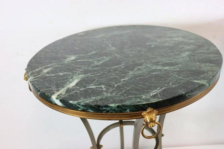 Pair of Marble-Top Bronze and Steel Gueridon Tables in Style of Maison Janssen In Fair Condition For Sale In New York, NY