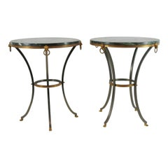 Pair of Marble-Top Bronze and Steel Gueridon Tables in Style of Maison Janssen