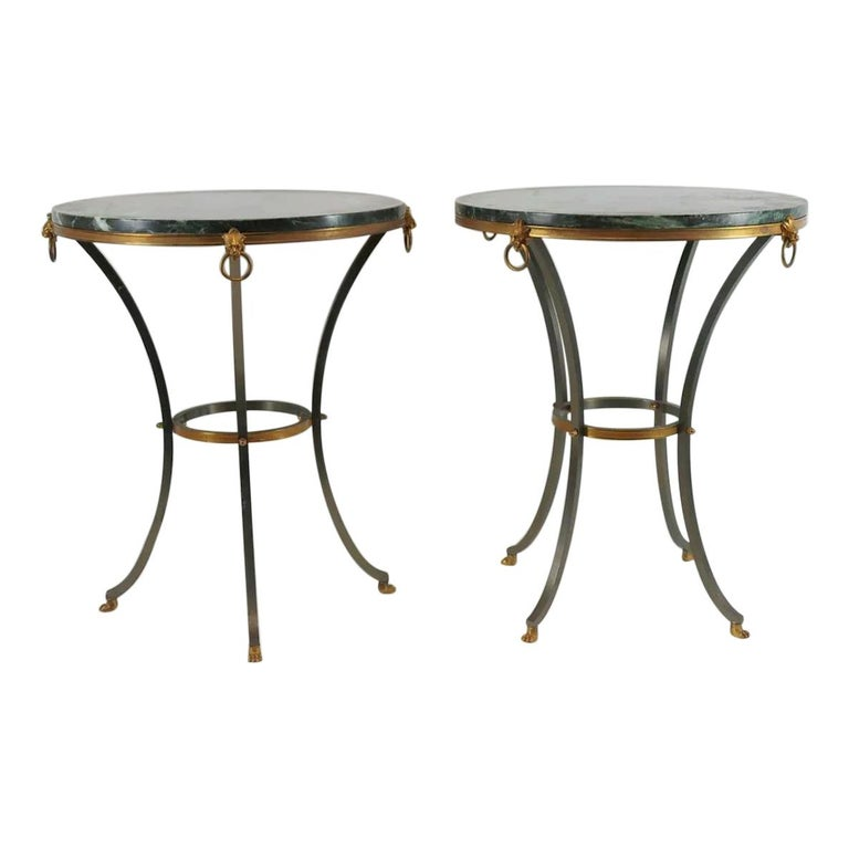 Pair of Marble-Top Bronze and Steel Gueridon Tables in Style of Maison Janssen For Sale