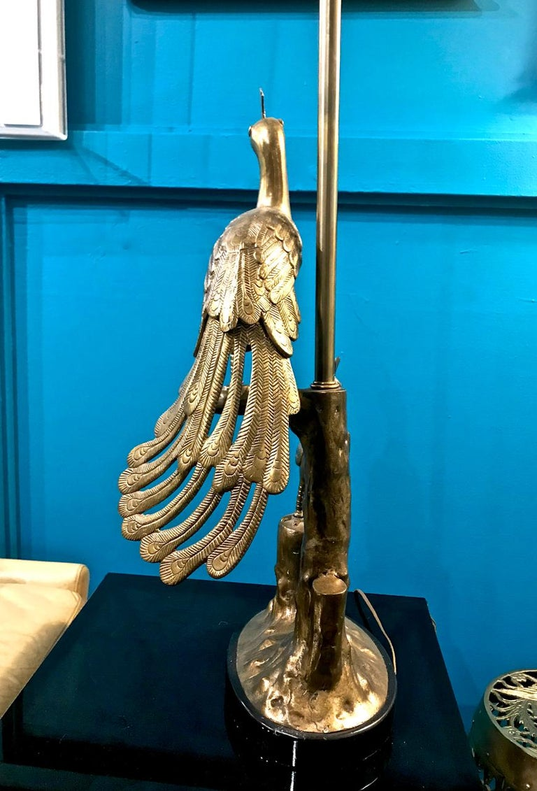 American Pair of Marbro Brass Peacock and Chick Lamps, circa 1960 For Sale