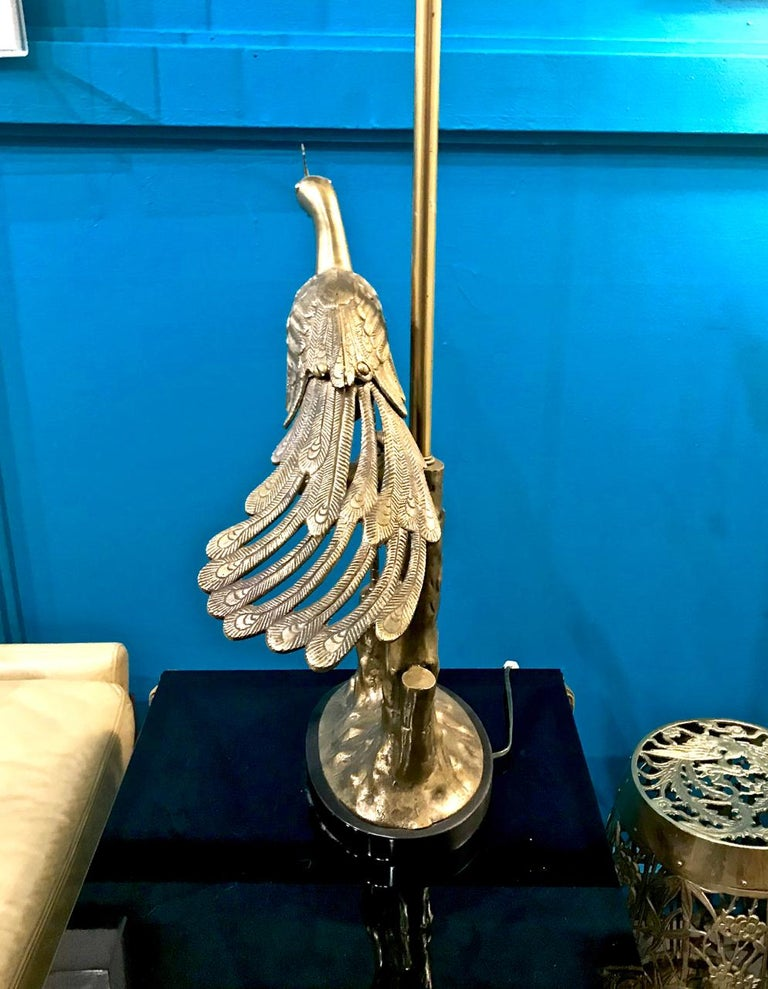 20th Century Pair of Marbro Brass Peacock and Chick Lamps, circa 1960 For Sale
