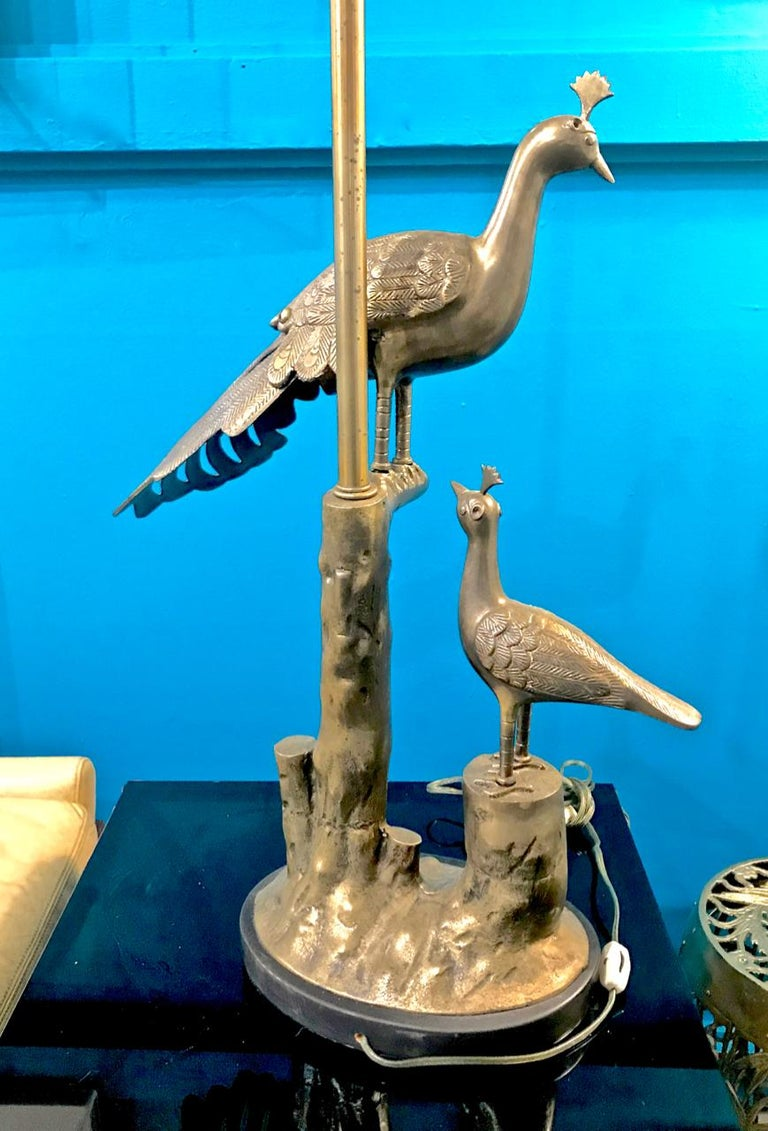 Pair of Marbro Brass Peacock and Chick Lamps, circa 1960 For Sale 1