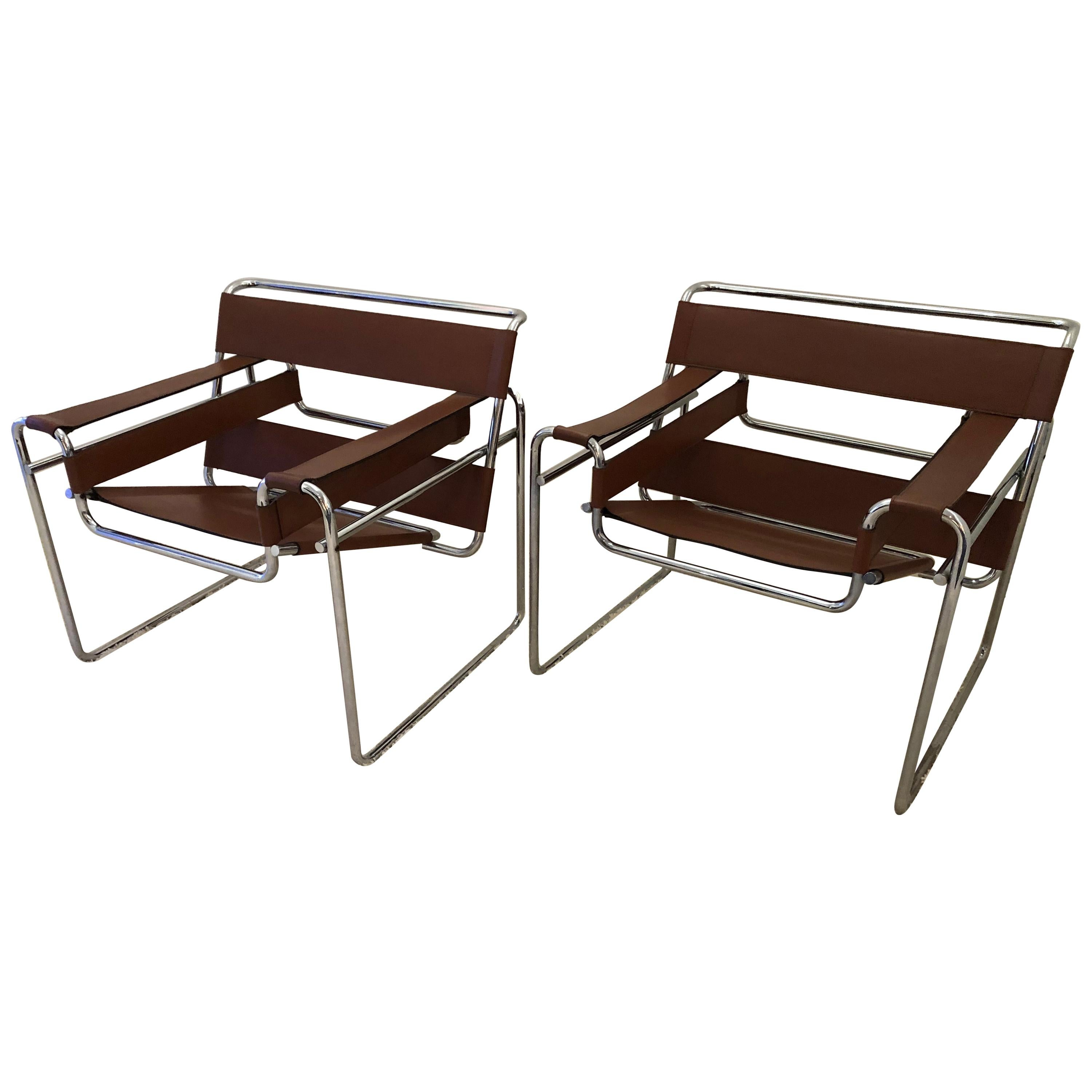 Pair of Marcel Breuer Wassily Leather Lounge Chairs Gavina for Charles Stendig