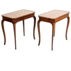 Pair Marquetry Side / End Table
