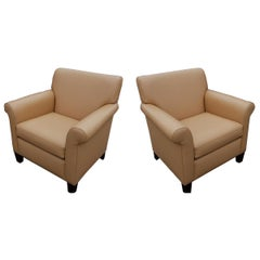 Pair Martin Brattrud Leather Collection Lounge Chairs