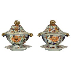 Pair of Masons Ironstone Tureens, Covers and Stands, circa 1815