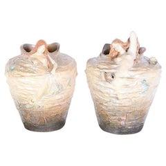 Pair Massive Art Nouveau Frederique Goldscheider Vases with Sirens or Mermaids