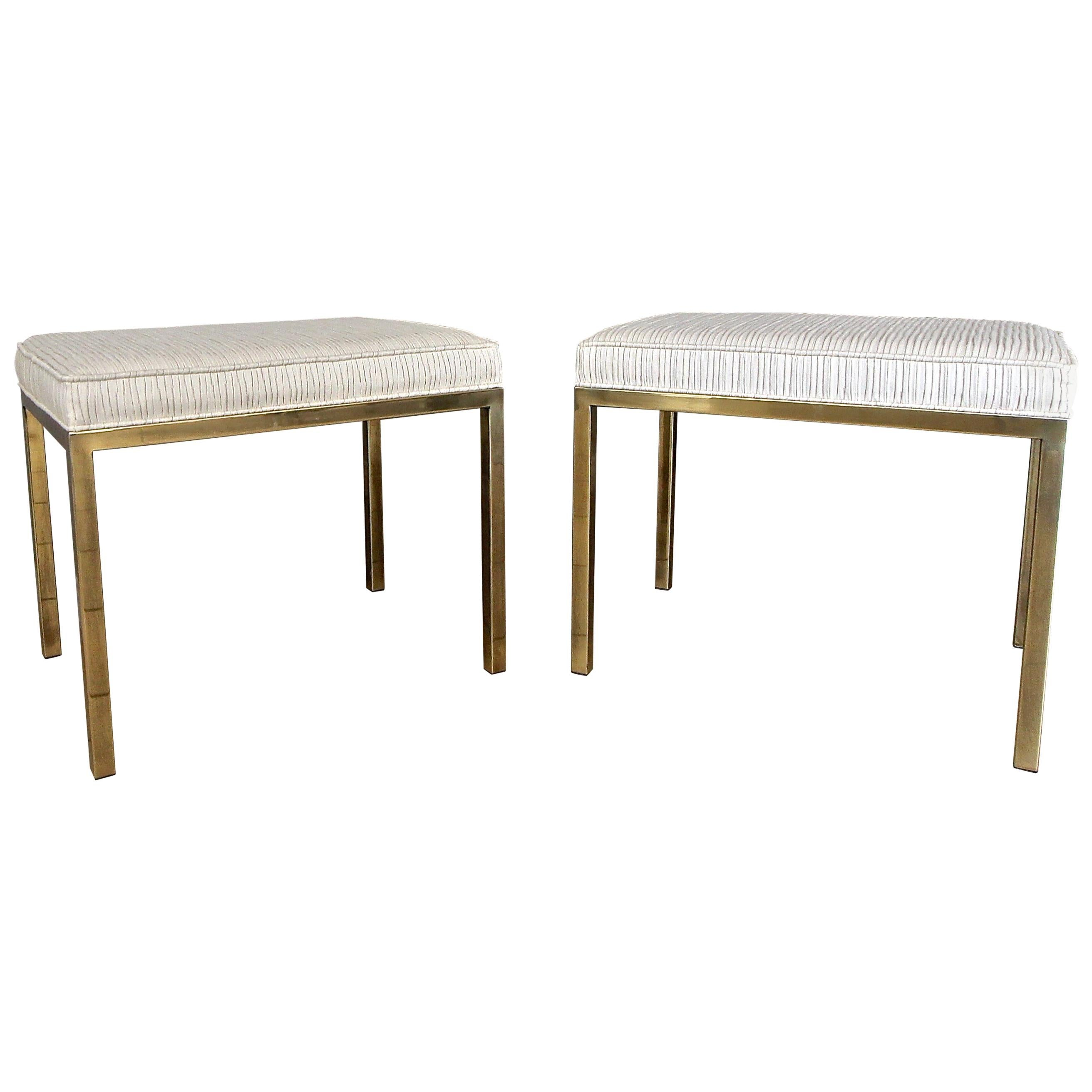 Pair of Mastercraft Brass Rectangular Benches Stools